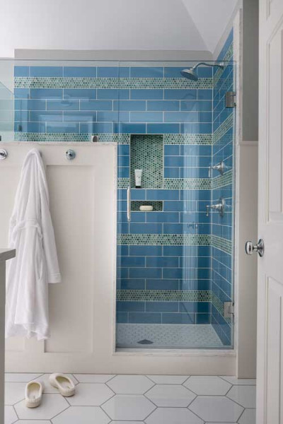 Blue And Green Walk In Shower Design