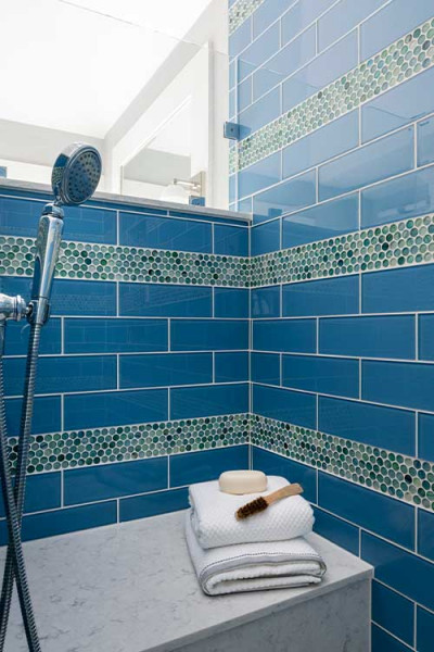 Blue Subway Tile Walk In Shower