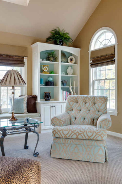 Living Room Design With Pale Blue Accents