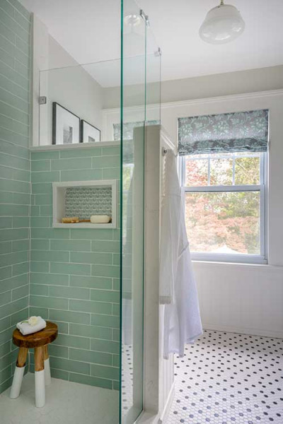 Seafoam Green Subway Tile Shower Interior Design Boston