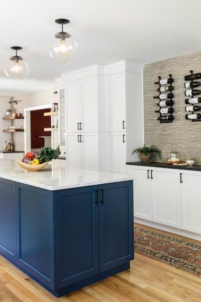 Navy Blue Kitchen Island White Marble Countertop